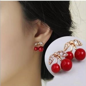 Cherry Rhinestone Beaded Fashion Earrings